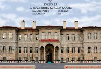Konya il Umumi Hıfzıssıhha Kurulu yeni kararlarını yayınladı